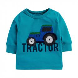 Кофта для мальчика, реглан, бирюзовая. Трактор.