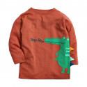 Кофта для мальчика, реглан, оранжевая. Зеленый крокодил.