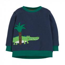 Кофта детская, свитшот, темно-синяя. Крокодил под пальмой.
