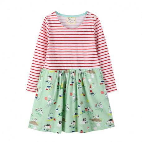 Платье для девочки, зеленое. Морское побережье.