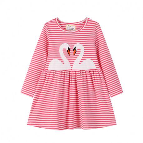 Платье для девочки, коралловое. Два лебедя.