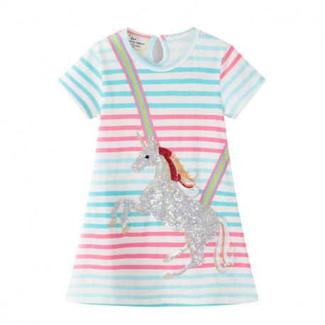 Платье для девочки, белое. Мерцающий единорог.