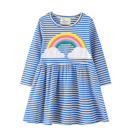 Платье для девочки, синие. Огромная радуга.