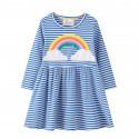 Платье для девочки, синее. Огромная радуга.