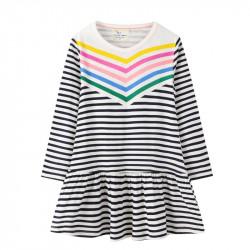 Платье для девочки, белое. Радужные полосы.