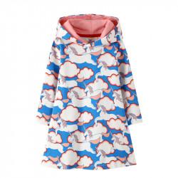 Платье для девочки, синие. Парящие единороги.