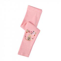Леггинсы для девочки, розовые. Мишка в венке.