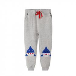 Штаны для мальчика, серые. Синие акулы.