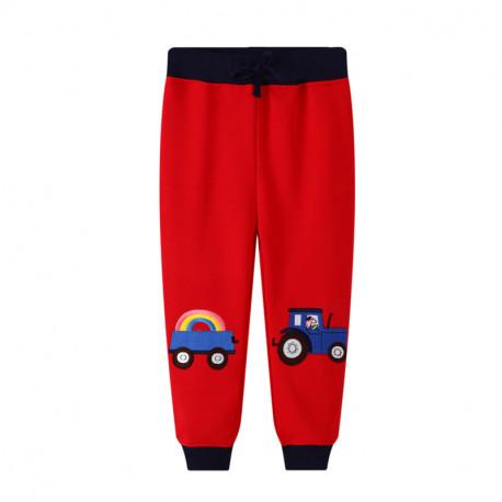 Штаны для мальчика, красные. Трактор с прицепом.