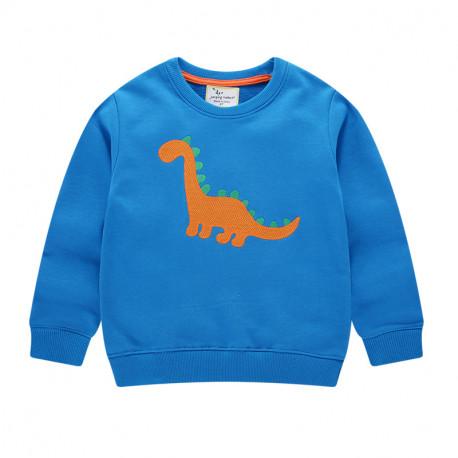 Кофта для мальчика, свитшот, синяя. Оранжевый диплодок.
