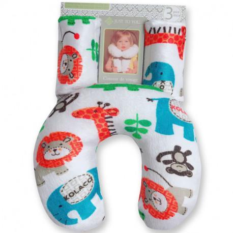 Подушка под шею с накладками на ремень для новорожденного. Африканские животные.