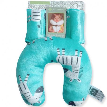 Подушка под шею с накладками на ремень для новорожденного. Веселые зебры.