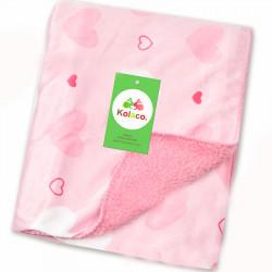 Плед детский , двухсторонний, розовый. Сердечка. 102*76 см.