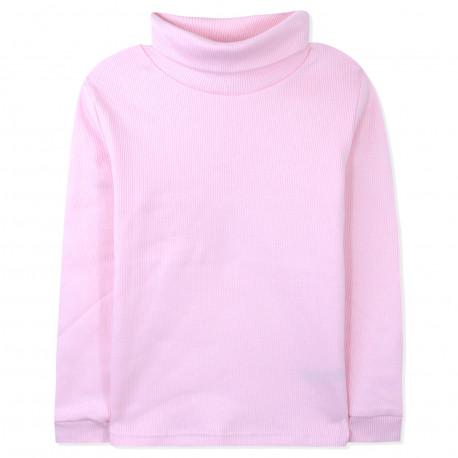 Водолазка в рубчик с начесом, гольф с отворотом. Розовый.