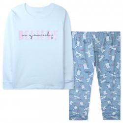 Пижама для девочки, бело-серая. Верь в себя.