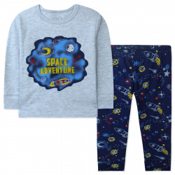 Пижама для мальчика, серая. Космические приключения.