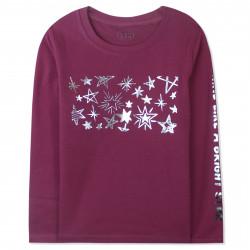 Кофта для девочки, джемпер, бордовый. Серебряные звезды.