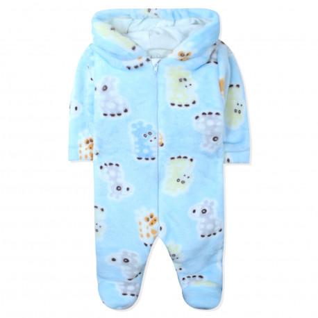 Человечек утепленный детский, комбинезон, голубой. Жирафики.