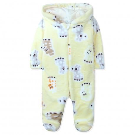 Человечек утепленный детский, комбинезон, желтый. Жирафики.