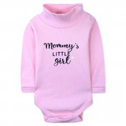 Боди детский под горло, розовый. Mommy's little girl.