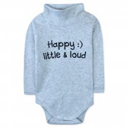 Боди детский под горло, серый. Happy! Little and loud.