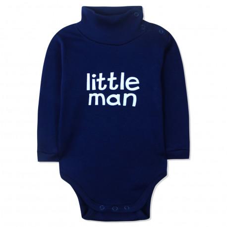 Боди детский под горло, темно-синий. Little man.