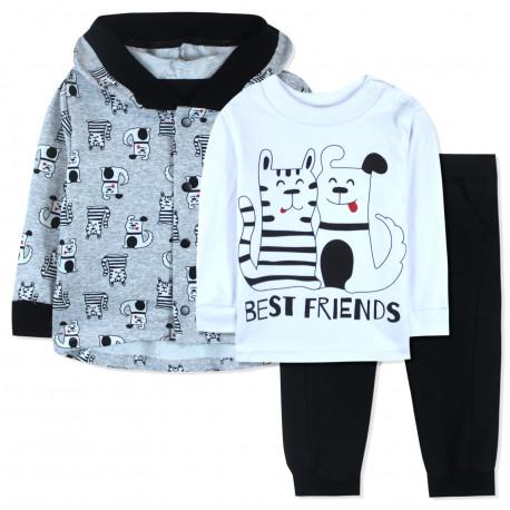 Костюм 3 в 1 для мальчика, черный. Кот и собака - лучшие друзья.