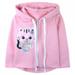 Утепленная кофта для девочки, толстовка, розовая. Котенок.