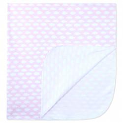 Пеленка хлопковая 90 х 90 см, розовая. Тучки.