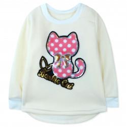 Утепленная кофта для девочки, толстовка, молочная. Barbie cat.