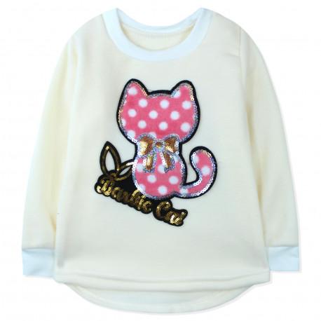Утепленная кофта для девочки, толстовка, розовая. Barbie cat.