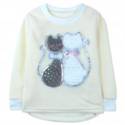 Утепленная кофта для девочки, толстовка, молочная. Серый и белый кот.