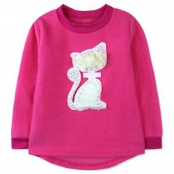 Утепленная кофта для девочки, толстовка, розовая. Гламурная кошечка.