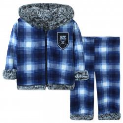 Утепленный костюм детский на меху, синий. Клеточка.