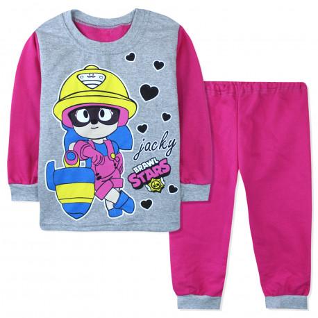 Пижама для девочки, с начесом, серо-розовая. Brawl Stars.