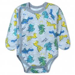 Боди-распашонка на запах для мальчика, серый. Маленькие динозаврики.