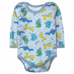 Боди для мальчика, серый. Маленькие динозаврики.