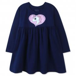 Платье для девочки, синие. Единорог в сердце.