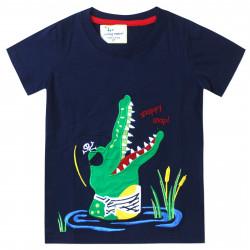Футболка для мальчика, темно-синяя. Крокодил - пират.