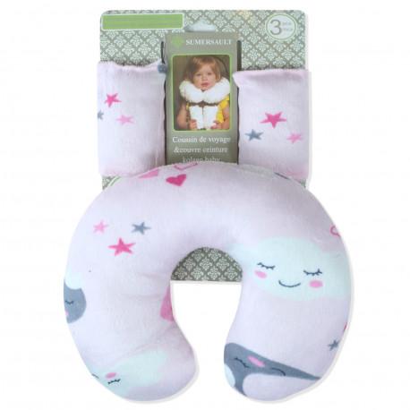 Подушка под шею с накладками на ремень для новорожденного. Жираф и мартышка.