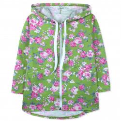 Кофта для девочки, толстовка, зеленая. Прекрасные розы.