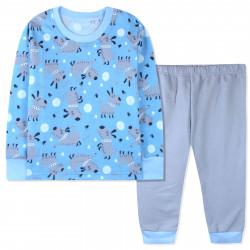 Пижама с начесом для мальчика, голубая. Пёсики и мячики.