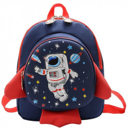 Детский рюкзак, темно-синий. Ракета и космонавт.