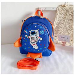 Детский рюкзак, синий. Ракета и космонавт.