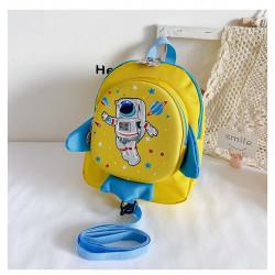 Детский рюкзак, желтый. Ракета и космонавт.