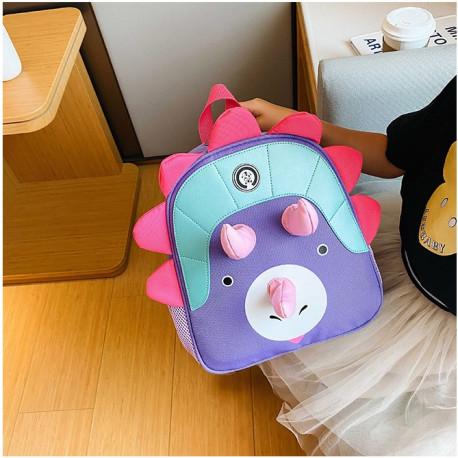 Детский рюкзак, фиолетовый. Милый трицератопс.