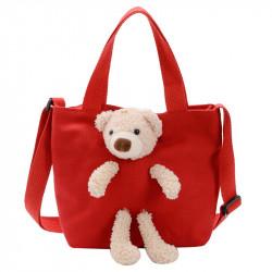 Сумка детская, сумка через плечо, красная. Мишка Тедди.