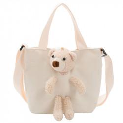 Сумка детская, сумка через плечо, белая. Мишка Тедди.