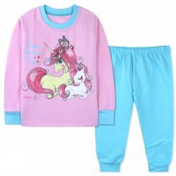 Пижама с начесом для девочки, мятная. Мама и дочка единороги.
