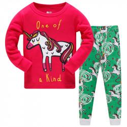 Пижама для девочки, малиновая. Единственный единорог.